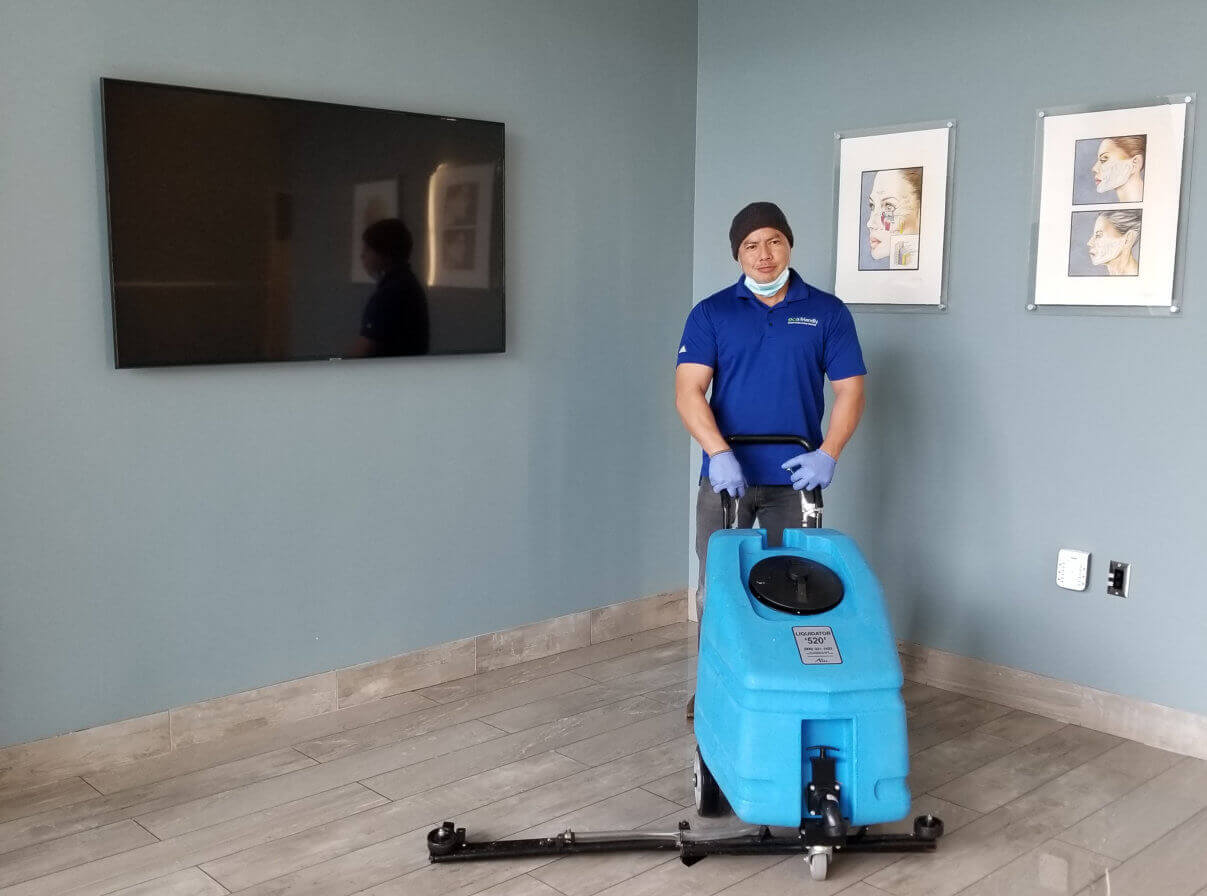 man with power cleaner